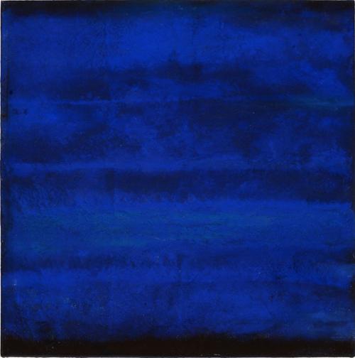 Alain Hussocn-Dumoutier - La nuit sur l'Aubrac – Sand oil and pure pigments on canvas - Le chemin de Saint Jacques series - 100x100cm