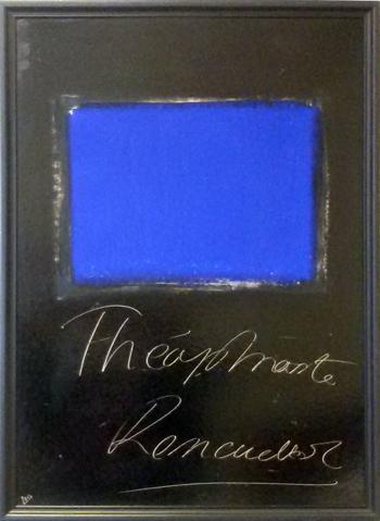 Alain Husson-Dumoutier - Theophraste Renaudot - Oil on paper on cardboard -La Presse et le signe 1991 series - 90x70cm